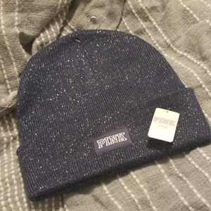 BNWT PINK blue and silver beanie